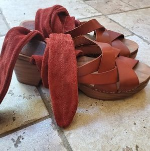 Free People Wrap Up Wooden Clogs